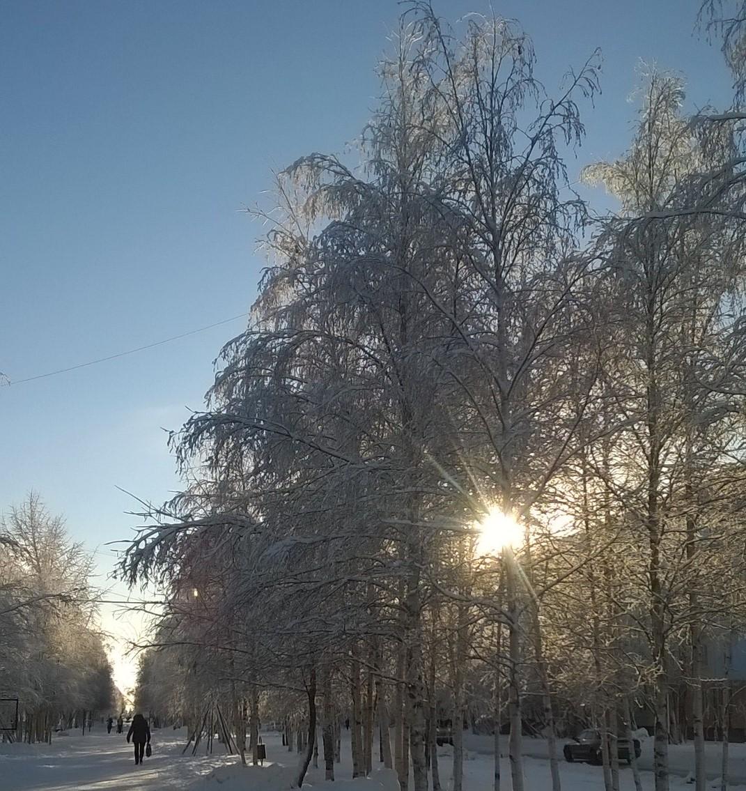 В Усинске зимний коктейль: снегопад, гололёд, туман и ...